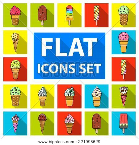 Different ice cream flat icons in set collection for design. Dessert and sweetness vector symbol stock  illustration.