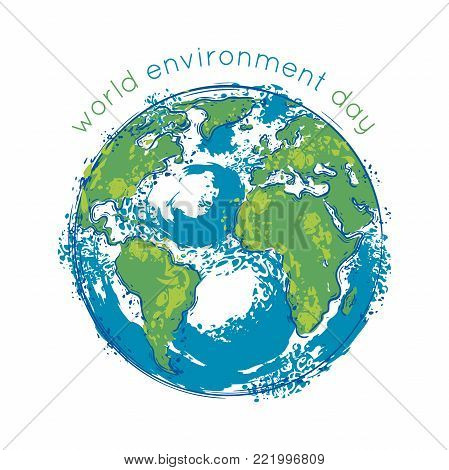 World environment day. Earth globe with splashes in watercolor style art. Concept design for banner, greeting card, t-shirt, print, poster. Vector illustration