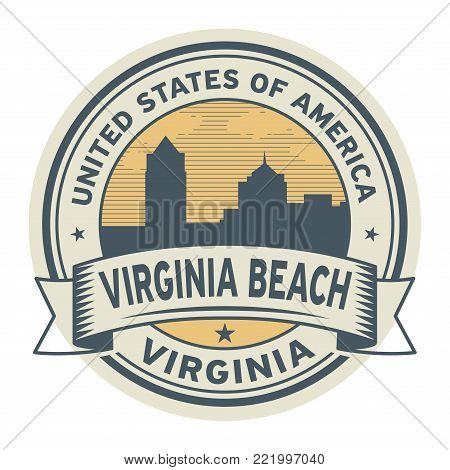 Stamp or label with name of Virginia Beach, Virginia, USA, vector illustration