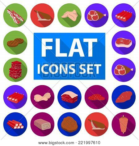 Different meat flat icons in set collection for design. Meat product vector symbol stock  illustration.