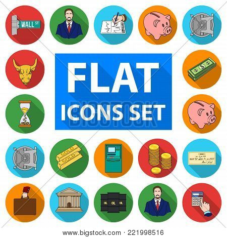 Money and Finance flat icons in set collection for design. Business and Success vector symbol stock  illustration.