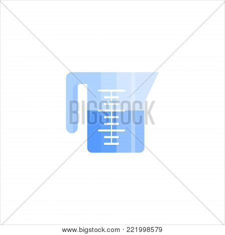 Measuring cup flat icon logo isolated on white background. Beaker for kitchen, laundry - vector illustration.