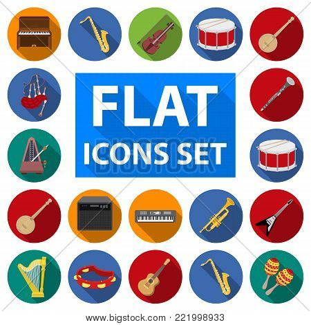 Musical instrument flat icons in set collection for design. String and Wind instrument vector symbol stock  illustration.