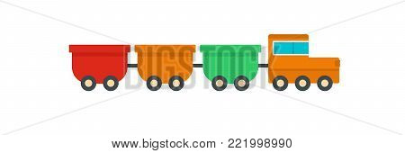 Freight wagons icon. Flat illustration of freight wagons vector icon for web.
