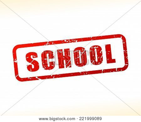 Illustration of school text buffered on white background