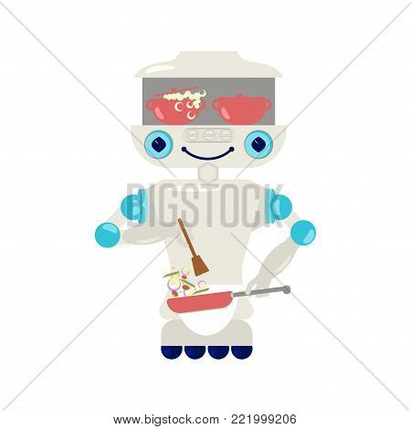 Home robot for housework - repair, cleaning, cleaner sweeping, cooking and laundry. Cute bot assistant isolated on white background in flat design. Vector illustration eps 10