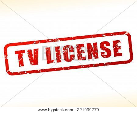 Illustration of tv license text buffered on white background
