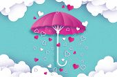 Happy Valentines day. Purple umbrella. Air with Love raining. Origami Heart Rain drop. Parasol. Happy Monsoon season. Heart in paper cut style on blue background. Cloud. Romantic Holidays.14 February. Vector poster