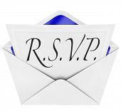 An opening envelope revealing a formal  RSVP response to an invitation to a special party or event, with the cursive hand-written abbreviation or phrase R.S.V.P. poster
