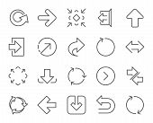 Linear Arrow icons. Set of Download, Synchronize and Recycle signs. Undo, Refresh and Login symbols. Sign out, Next and Upload. Universal Arrow elements. Quality design elements. Editable stroke poster