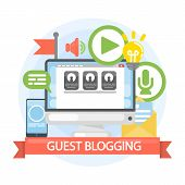 Guest blogging concept. Writing from computer or other device. poster