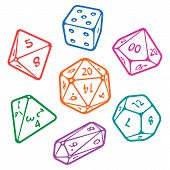 Vector icon set of dice for fantasy dnd and rpg tabletop games. Board game polyhedral dices with different sides: d4, d6, d8, d10, d12, d20 isolated on white background poster