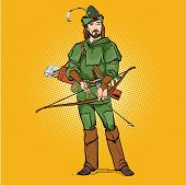Robin Hood in a hat with feather. Young soldier. Noble robber. Defender of weak. Medieval legends. Heroes of medieval legends. Halftone background. poster
