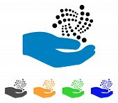 Iota Salary Hand icon. Vector illustration style is a flat iconic iota salary hand symbol with gray, yellow, green, blue color variants. Designed for web and software interfaces. poster