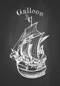 Vector hand drawing of sailing ship, galleon on chalkboard. Vintage poster. poster