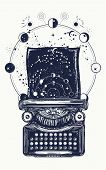 Typewriter tattoo. Symbol of imagination, literature, philosophy, psychology, imagination. Antique typewriter with paper prints Universe, surreal t-shirt design and tattoo art poster