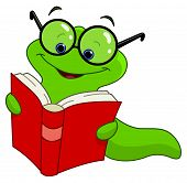 Vector illustration of a worm reading book poster