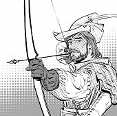 Robin Hood aiming on target. Robin Hood standing with bow and arrows. Robin Hood in a hat with feather. Young soldier. Noble robber. Defender of weak. Medieval legends. Heroes of medieval legends. poster