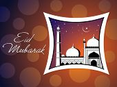 beautiful abstract concept greeting card for eid mubarak poster