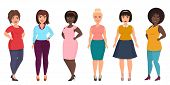 Vector plus size woman fashion. Curvy, overweight female girl in casual dress clothes poster