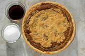 Freshly baked shoofly pie with sugar and molasses. Shoofly pie is a molasses pie or cake that developed its traditional form or recipe among the Pennsylvania Dutch in the 1880s. poster