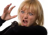 cared woman holding little rat in hands isolated on white poster