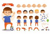 Boy playing sport and toys cartoon character vector constructor isolated icons of body parts, hair and emotions or uniform garments and playthings. Construction set of young boy child playing soccer poster