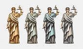 Lawsuit, judge symbol. Lady justice, judgment, defence justitia concept vintage vector poster