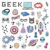 Set of cartoon doodle icons. Collection of symbols geek nerd gamer. poster