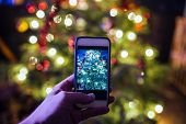 Christmas tree smartphone photo with focus on foreground poster