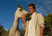 man and his friend little gry horse poster