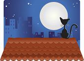 A black cat on the roof looking at the full moon. There are buildings in the background. poster