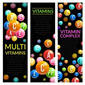 Multi vitamins complex banners of vitamin pills of A, B and ascorbic acid C, D and PP or multivitamin D. Vector design for medical dietary supplement or healthy lifestyle advertising template poster