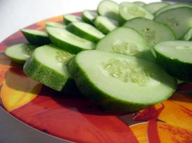 Close-up of cut cucumbers