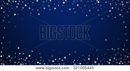 Random Falling Stars Christmas Background. Subtle Flying Snow Flakes And Stars On Dark Blue Night Ba