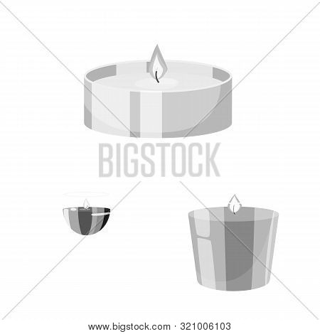 Vector Design Of Paraffin And Fire Icon. Set Of Paraffin And Decoration Stock Symbol For Web.