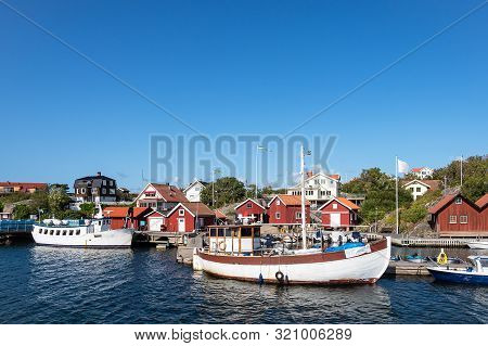 View To The City Rönnäng In Sweden.