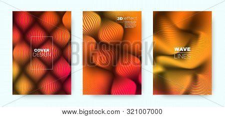 Multicolor Fluid Cover. Colorful Design Concept. Geometric Distorted Lines. Orange 3d Background. Fl