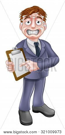 A Cartoon Stressed Looking Business Man Holding A Clipboard