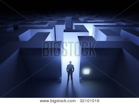 Geschäft Herausforderung Kaufmann am Eingang zu einem Labyrinth.