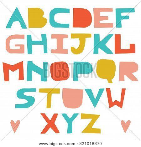 English Colorful Uppercase Paper Cut Alphabet. Cutout Letters. Vector Script. Abc Letters Imitating