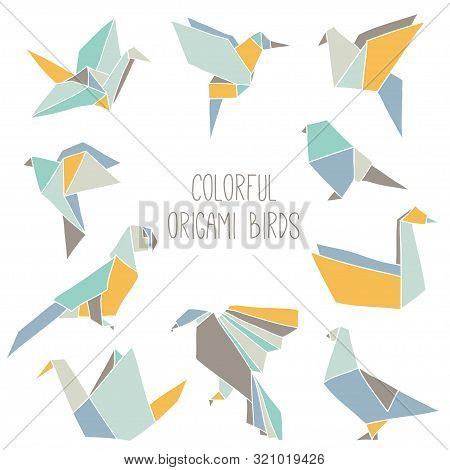 Cute Collection With 10 Colorful Origami Birds. Vector Set Of Line Geometric Birds: Crane, Pigeon, P