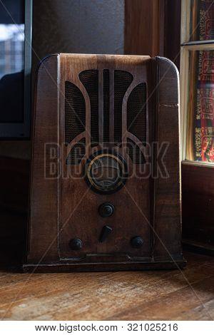 Old Fashion Style Vintage Retro Radio In Wood Indoors