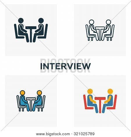 Interview Icon Set. Four Elements In Diferent Styles From Human Resources Icons Collection. Creative