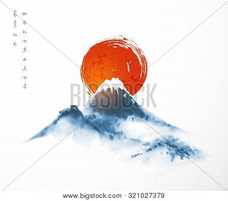Blue Mountains And Big Red Sun, Symbol Of Japan. Traditional Japanese Ink Wash Painting Sumi-e On Wh