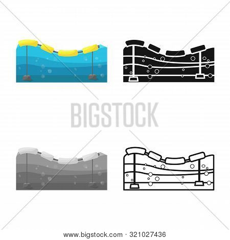Vector Illustration Of Buoy And Power Symbol. Set Of Buoy And Sea Vector Icon For Stock.