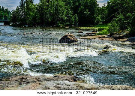 Finland, Kotka: Langinkoski Rapid On The Kumi River In Kotka. Harsh Northern Nature. The Favorite Fi