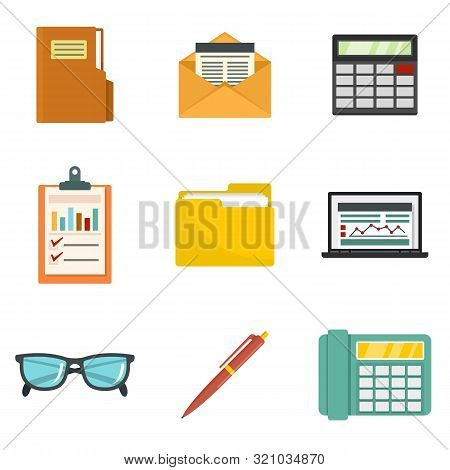 Accounting Icon Set. Flat Set Of Accounting Vector Icons For Web Design