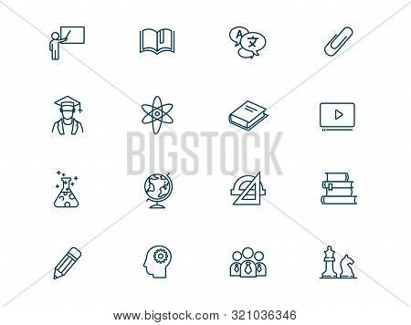 Science And Education Vector Linear Icons Set. Elements Education Outline Symbols Pack. Collection O