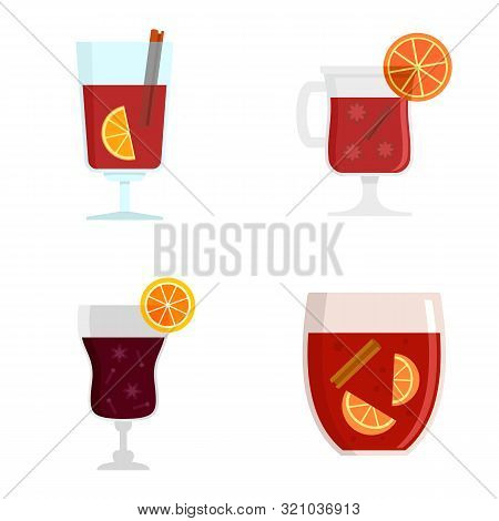 Mulled Wine Icon Set. Flat Set Of Mulled Wine Vector Icons For Web Design